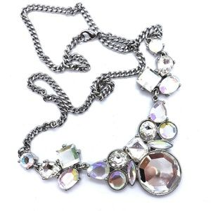 Sparkling Chunky Clear Crystal Statement Necklace